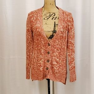 Pink Rose Orange Cardigan Sweater